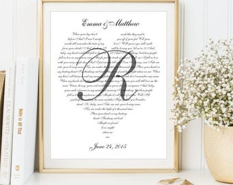 Our Song Lyrics Sign Wall Art, Wedding Vows print, Valentine's Gift for her him, First Dance song Custom Wedding Gift Anniversary Love song