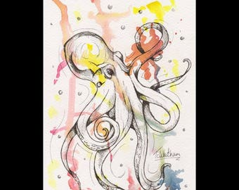 A5 original watercolour painting. Octopus painting. octopus watercolour. octopus art. octopus ink sketch. marine art. sea life art.