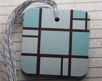 25 Hang tags aqua, light turquoise and brown geometric patterned paper over chipboard...prestrung