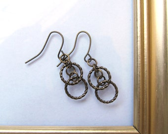 Bronze Hoop Earrings - Dainty Minimalist Bronze Dangle Earrings