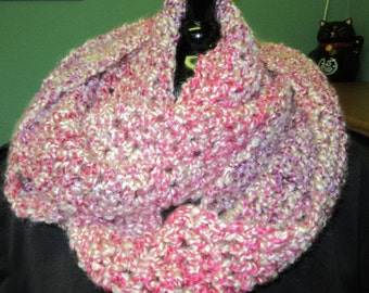 Pink Infinity Scarf, Extra Long, Circle, Loop, Cowl, Easter, Spring, Crochet knit, Spring, Oversize, Chunky, Thick Yarn, Neckscarf, New