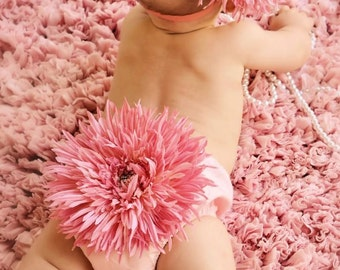 Newborn Photo Outfit, Pink Daisy Diaper Cover & Headband Set, Spring Photo Prop, Babys 1st Easter, Pink Flower Bloomer, Newborn Photo Prop