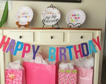 Free Shipping, Birthday, Banner, Girl, Felt, Pink, Purple, Teal, Happy, Reusable, Party, Backdrop, Unicorn Birthday, Birthday Sign,
