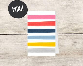 MINI! Blank Striped Mini Card, Small Birthday or Gift Enclosure Card