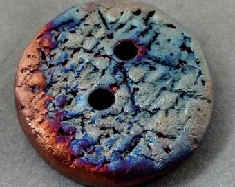 Round 2-hole handmade Raku Button