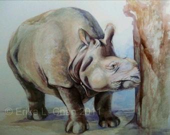 Randa Indian Rhino Watercolor PRINT (11x8.5inch) 25% proceeds to Indian Rhino Vision 2020