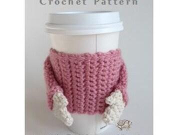 Sweater Coffee Cozy - PDF CROCHET PATTERN