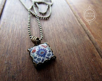 Islamic tile necklace, Turkish tile design, islamic jewelry, Tyrkish pendant, Muslim jewelry, Middle East, Charm necklace