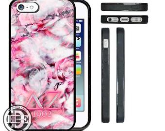 EGOCENTRIC DESIGN & CO. Delta Zeta Marbleized Pink Rose Art Rubber Silicone Phone Case