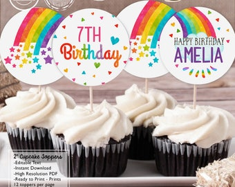 """INSTANT DOWNLOAD - EDITABLE Rainbow Birthday 2"""" Cupcake Toppers - Rainbow Party decorations Rainbow favor tags"""