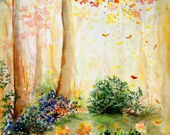 Autumn landscape art Wall decor Watercolor painting Watercolor tree painting Autumn tree art Landscape watercolor tree