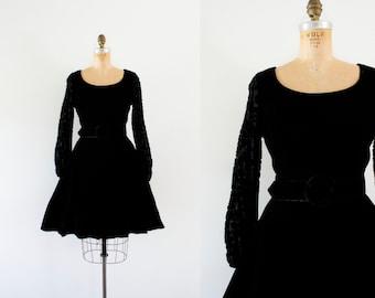 1960s Forgotten Romance velvet rose dress / 60s simple beauty