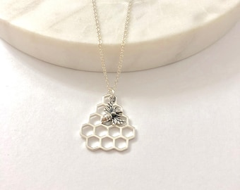 Silver Honeycomb and Bee Charm Necklace - Honeycomb charm - Silver Honeycomb Pendant