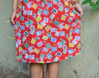 True Vintage 80s Colorful Postage Stamp Print Skirt with Elastic Waist, Medium