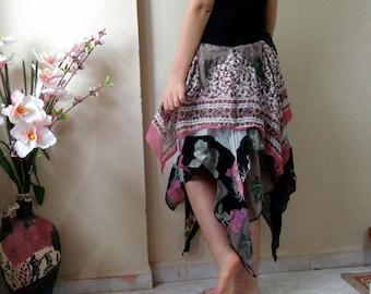 Woodland Fairy tattered skirt, Upcycled recycled clothing, Bohemian festival clothing, Layered ragged boho gypsy skirt