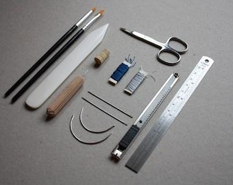 BLUE Bookbinding kit, Gift Bookbinding kit, Basic bookbinding, DIY Bookbinding, Bindinging toolkit, Notebook Kit, Paper conservation kit