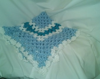 Crocheted Baby Blanket- Colors White, soft blue, and blue mint