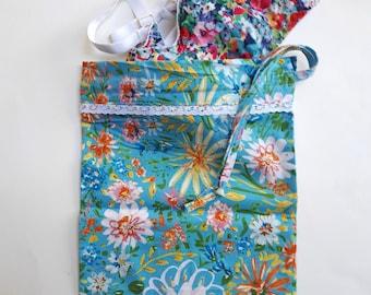 Floral Laundry Bag, Small Cotton Drawstring Storage Bag, Travel Bag, Lingerie Bag, Swimsuit Bag, Dorm Decoration, Gift for Her.