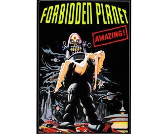 Forbidden Planet Vinyl Sticker - Vintage B-movie Science Fiction - Horror Poster - Film Poster - Horror - Robby robot - Space