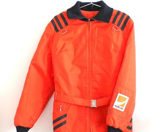 Vintage Womens Moto-Ski Snowmobile Jacket with Elastic Collar Cuffs and Hood