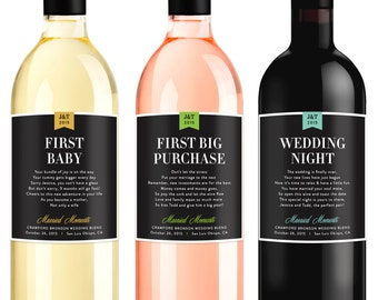 Wedding Milestone Wine Labels Unique Wedding Gifts