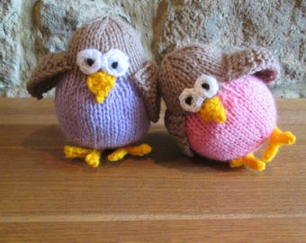 Hand Knitted Juggle Bird ~Toy Doll Softie Plushie Stuffed Animal ~ Ready To Ship