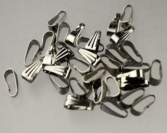 100 pcs of Gunmetal Pendant Pinch Bails - 9x3.5mm