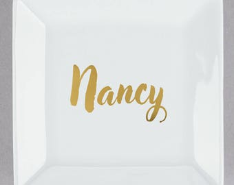 Personalized Jewelry Dish with Name / Trinket Dish Bridesmaid / Personalized Gift / Maid of Honor / jewelry storage/ Birthday / Ring tray