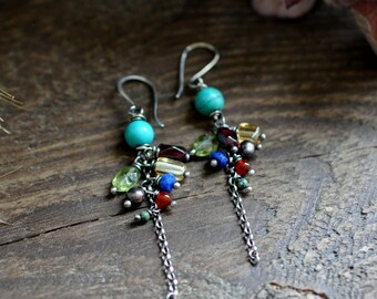 Sterling Turquoise Earrings, Sterling Silver Gemstone  Earrings, Long Gemstone Dangly Earrings