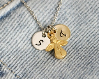 Personalized Guardian Angel Initial Necklace, Angel Necklace, Handstamped Necklace, Initial Pendant,Initial Necklace,Personalized,Monogram