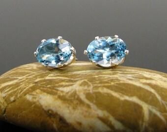 Blue topaz earrings, blue topaz studs, topaz earrings, sky blue topaz stud earrings 7x5 mm