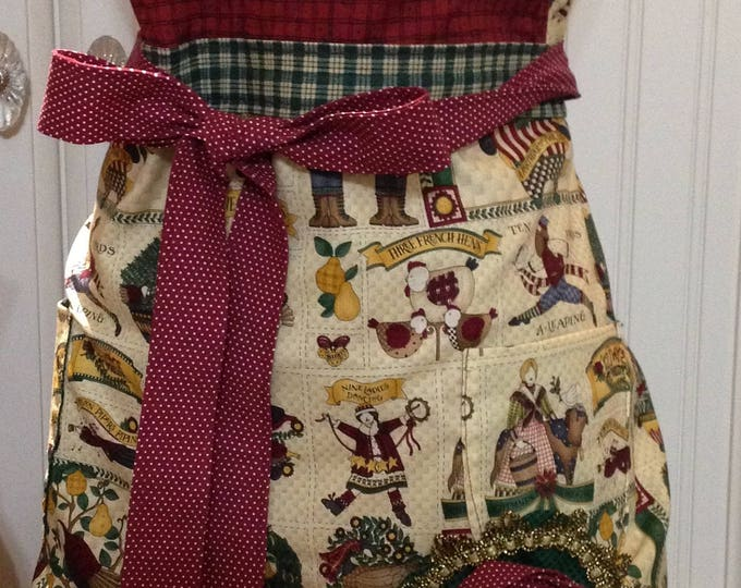 Women's Christmas full apron Christmas country print Christmas gift hostess with the mostest style shabby chic flower pin vintage button