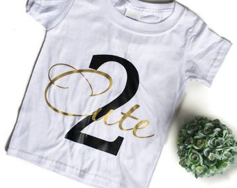 Two Cute Birthday Shirt for Girls - Graphic Tops for Girls - Girl's Birthday Shirt -  Graphic T Shirts for Girls - Trendy Clothes for Girls
