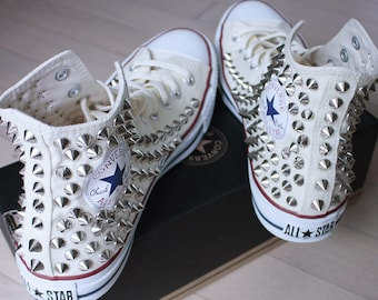 Genuine CONVERSE Beige with studs All-star Chuck Taylor Sneakers Sheos