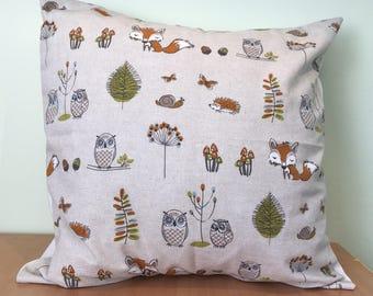Woodland throw cushion cover
