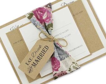 SAMPLE * Charlotte Parcel Wrap Rustic Wedding Invitation
