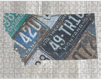 Montana Jigsaw Puzzle   Vintage License Plate Art   State Outline   Fun Puzzle