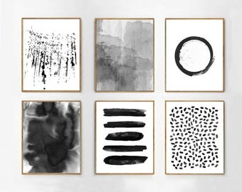Black White art Prints Set of 6 Abstract Watercolor Paintings Circle Dots Stripes Splatter Minimalist art Modern Boho Home Decor Minimal