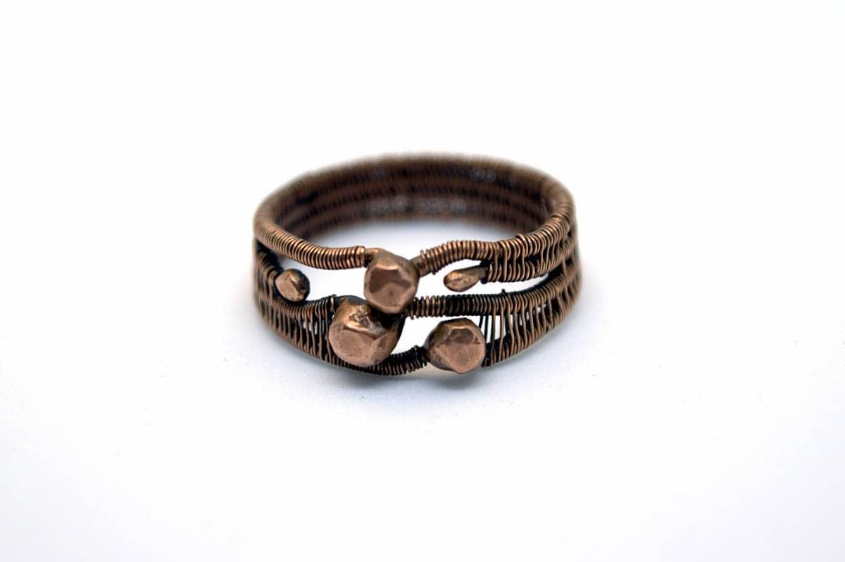 Kupfer Orbit Ring Größe 85 Unikat Ring Draht gewoben Ring