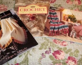Vintage, Crochet Books, 20% OFF SALE, Three Books, Crochet, Knitting book,  Crochet Fan Pattern