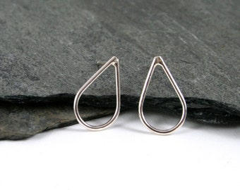 Small Sterling Silver Teardrop or Rain Drop Stud Earrings Gift under 30