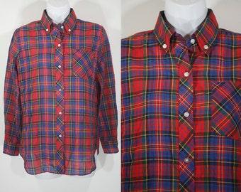 7 Dollar Sale---Vintage 80's DONNKENNY Plaid Button Down Shirt Size 12