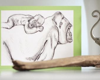 Gorilla Greeting Card, Gorilla, Greeting card, Endangered animals, Endangered Species, Animal Prints, African Art, Ape, Jungle Print, Cards