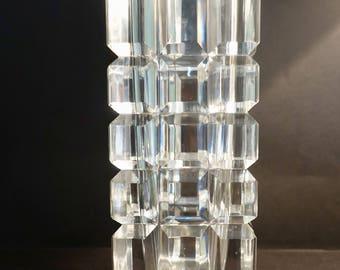 Orrefors crystal cut glass vase.