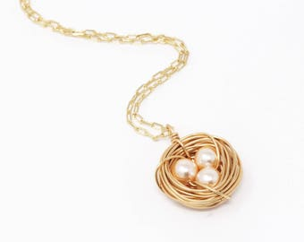 Push Present - Pearl Bird Nest Necklace - Rustic Nature Nest Jewelry - Gift From Child