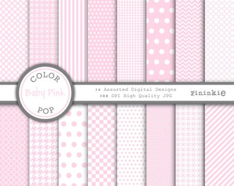 Pastel Pink Digital Paper - Baby Girl Digital Paper - Instant Download - Commercial Use CU - pink chevron, pink polka dots, pin