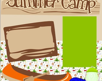 Scrapbook Page Kit Summer Camp Premade Scrapbook Pages 2-page 12X12 Scrapbook Page Kit or Premade Layout