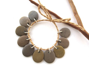 Rock Beads Small Mediterranean Natural Stone River Stone Jewelry Supplies Pairs Small KHAKI CHARMS 17-18 mm
