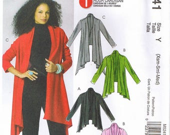 Easy Misses 1 Hour Stretch Knit Cardigan Open Front Flared Jacket Asymmetrical Hem McCalls 5241 Sewing Pattern Size XS S M 4 6 8 10 12 14
