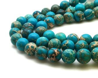 10mm Regalite Beads Light Blue Round 10mm Regalite 10mm Blue Jasper Aqua Terra Jasper Sea Sediment Jasper Impression Jasper Regalite Blue